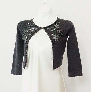 INC International Concepts beaded gray cardigan